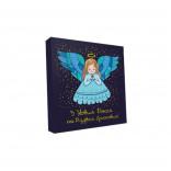Картонная коробка для конфет новогодняя Ангел, 185*185*30