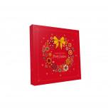 Картонная коробка для конфет новогодняя Бантики, 185*185*30