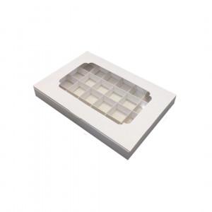 Картонная коробка с окошком на 24 конфеты, белая