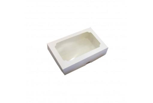 Картонная коробка для эклеров с окошком 230*150*60, белая