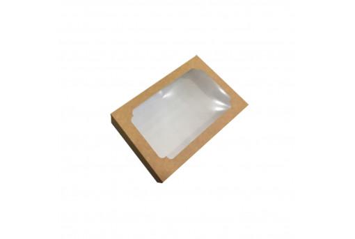 Картонная коробка для эклеров с окошком 230*150*60, крафтовая