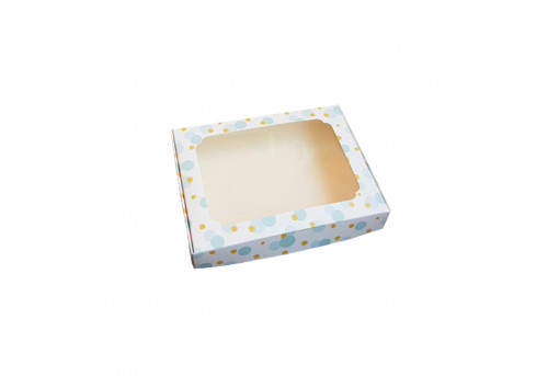 Картонная коробка для пряников 150*200*30, голубая