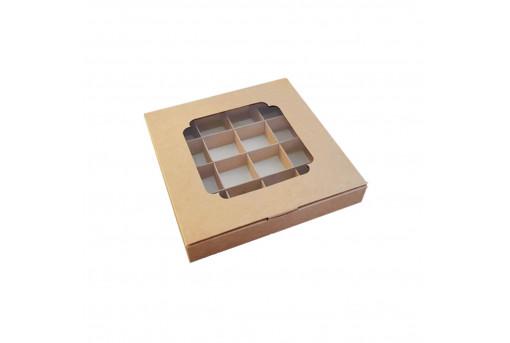 Картонная коробка с окошком на 16 конфет, крафтовая