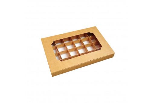 Картонная коробка с окошком на 24 конфеты, крафтовая