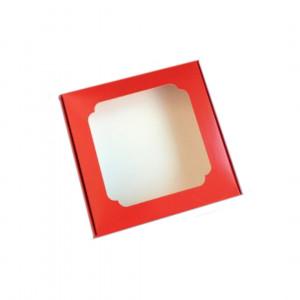 Картонная коробка на 16 конфет с перегородками, красная