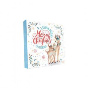 Картонная коробка для конфет новогодняя Сказочные олени, 185*185*30