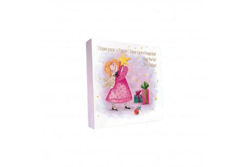 Картонная коробка для конфет новогодняя Звездочка, 185*185*30