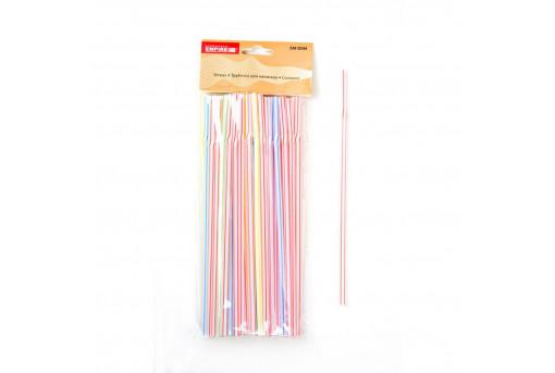 Трубочки с изгибом цветные 21 см, 100 шт