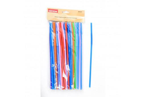 Трубочки с изгибом цветные 26 см, 100 шт