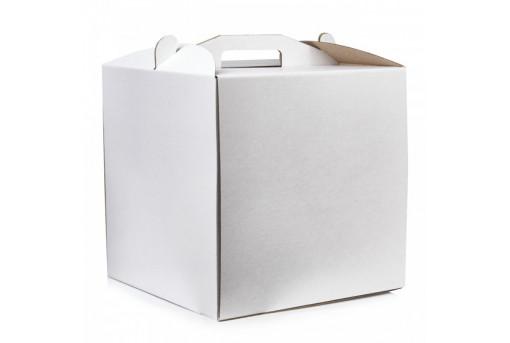 Коробка для торта белая квадратная 300*300*250
