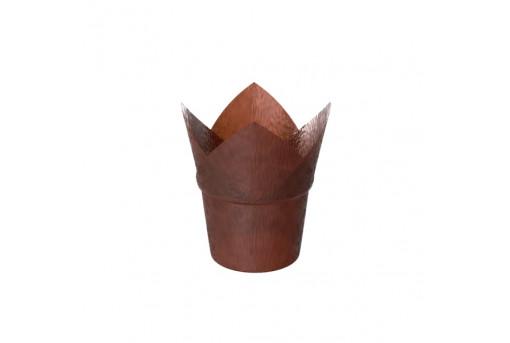 Форма бумажная для кексов, Коричневая, тюльпан с бортом, 50*90 мм