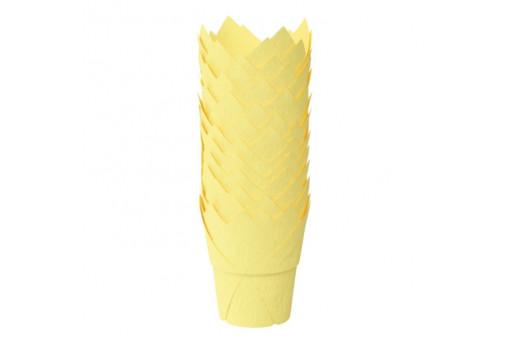 Форма тюльпан для капкейков желтая, 50*90 мм