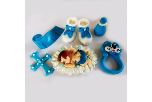 Сахарная фигурка младенца, голубая