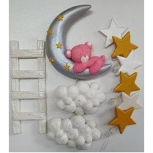 Сахарные фигурки медвежонок на луне (розовый)