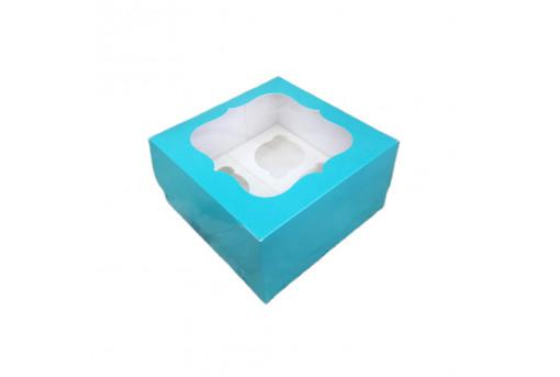 Коробка для кексов, маффинов, капкейков бирюзовая на 4 шт.