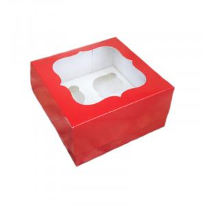 Коробка для кексов, маффинов, капкейков красная на 4 шт.