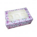 Коробка для кексов, маффинов, капкейков Цветы на 6 шт.