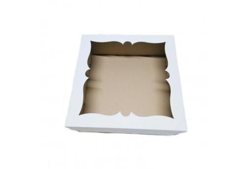 Коробка для торта, пирога белая, 300x300x110 мм