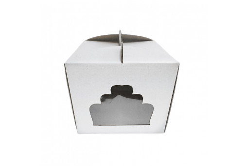 Коробка для торта с окошком белая, 300x300x250 мм