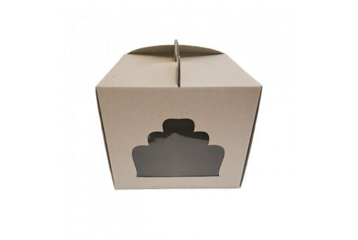 Коробка для торта с окошком крафтовая, 300x300x250 мм