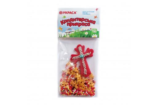 Сахарная фигурка Пасхальный крестик красный с посыпкой