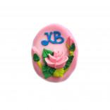 Сахарная фигурка Пасхальное яйцо розовое с розами