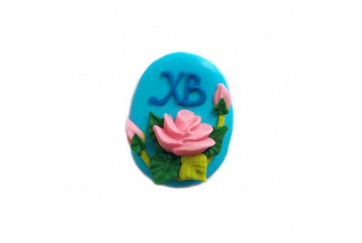 Сахарная фигурка Пасхальное яйцо голубое с розами