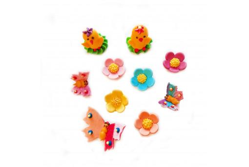Сахарные фигурки Бабочки, цыплята и цветочки