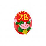 Сахарная фигурка Пасхальное яйцо красное с розами