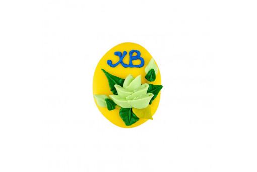 Сахарная фигурка Пасхальное яйцо желтое с розами