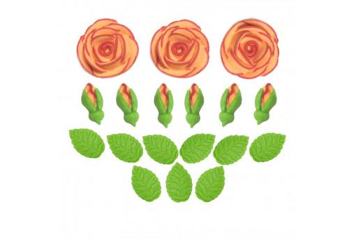 Сахарные фигурки Чайные розы оранжевые