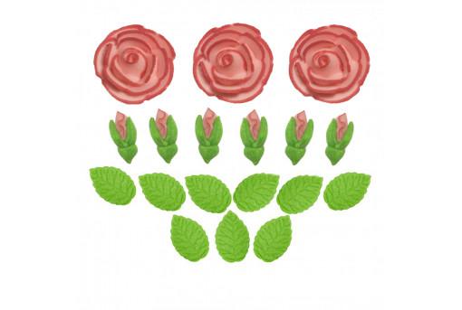 Сахарные фигурки Чайные розы розовые