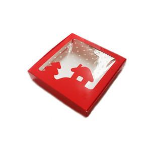 Коробка для пряников новогодняя красная