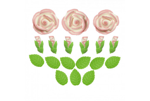 Сахарные фигурки Чайные розы белые