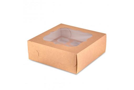 Коробка для кексов, маффинов, капкейков крафтовая на 9 шт.
