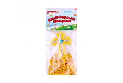 Сахарная фигурка Пасхальный крестик желтый с посыпкой