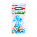 Сахарная фигурка Пасхальный крестик голубой с посыпкой