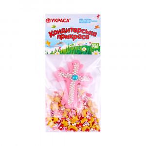 Сахарная фигурка Пасхальный крестик розовый с посыпкой