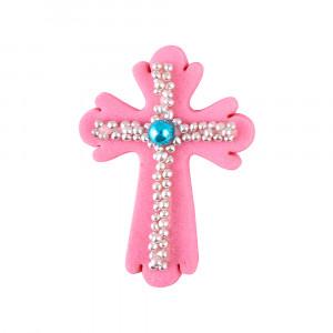 Сахарная фигурка Пасхальный крестик розовый