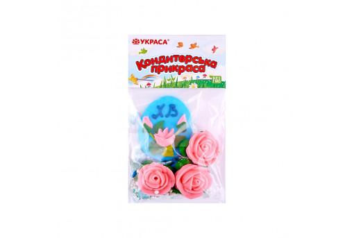 Сахарные фигурки Пасхальное яйцо голубое с розами и посыпкой