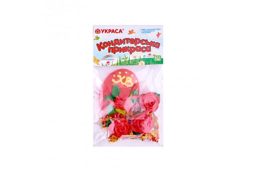Сахарные фигурки Пасхальное яйцо красное с розами и посыпкой