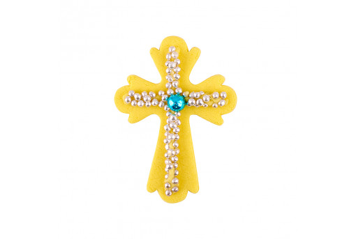 Сахарная фигурка Пасхальный крестик желтый