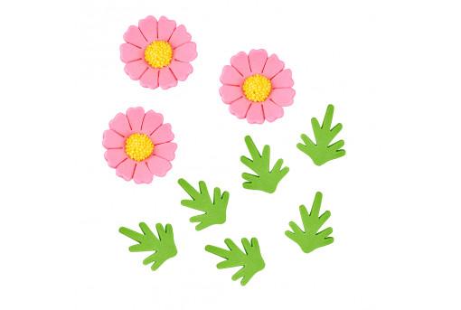 Сахарные фигурки Ромашки розовые
