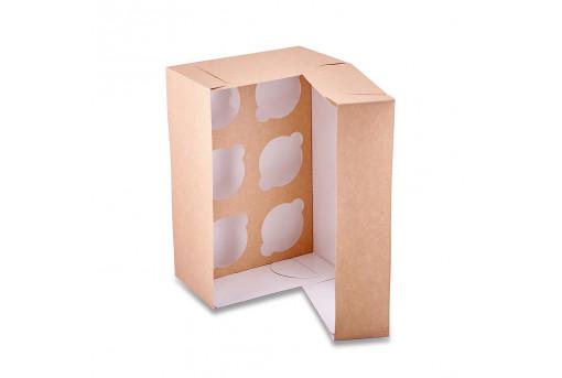 Коробка для кексов, маффинов, капкейков крафтовая на 6 шт.