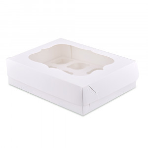 Коробка для кексов, маффинов, капкейков белая на 12 шт.
