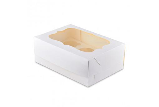 Коробка для кексов, маффинов, капкейков белая на 6 шт.