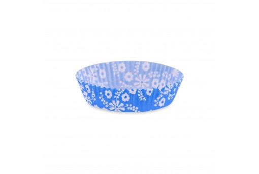 Форма бумажная для кексов низкая синяя